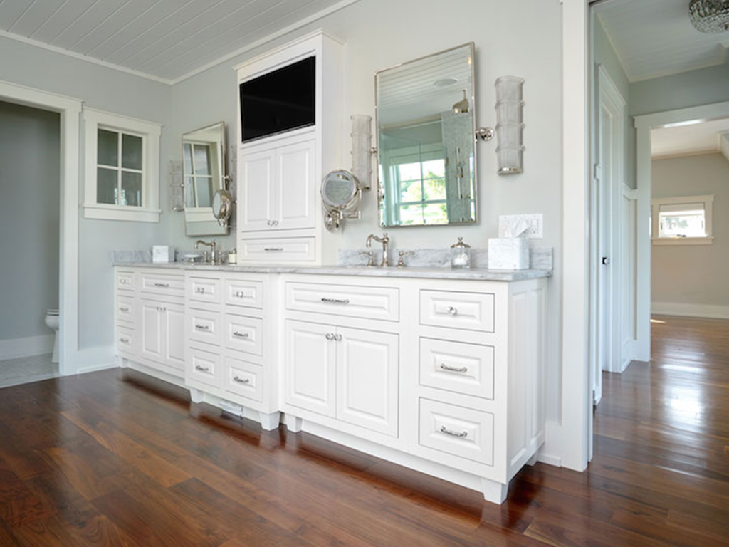 white painted double vanity