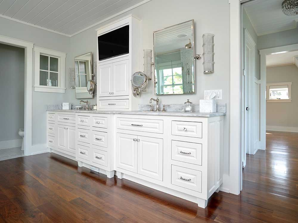 Custom white vanity with marble top