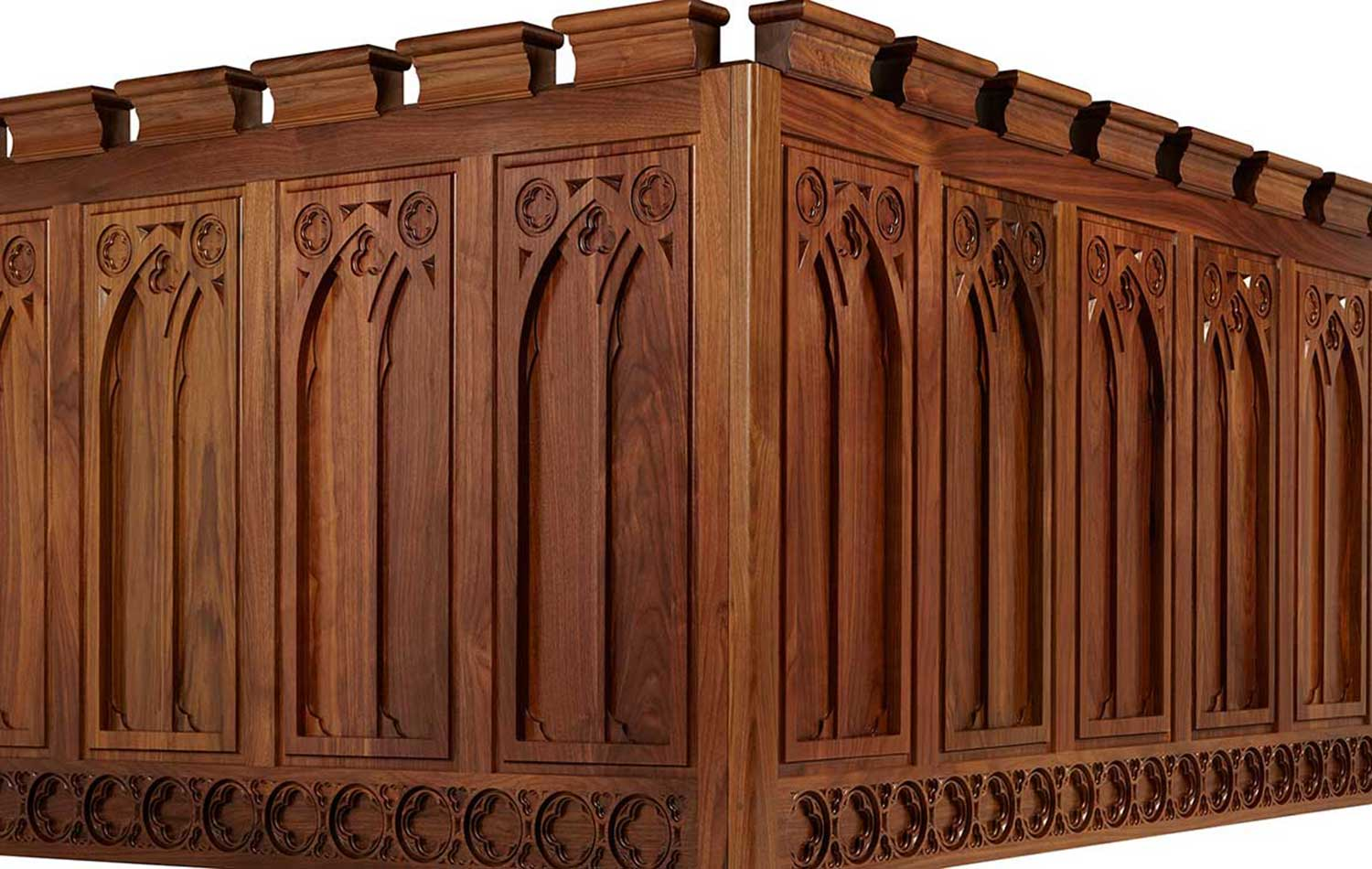 Gothic revival walnut kitchen
