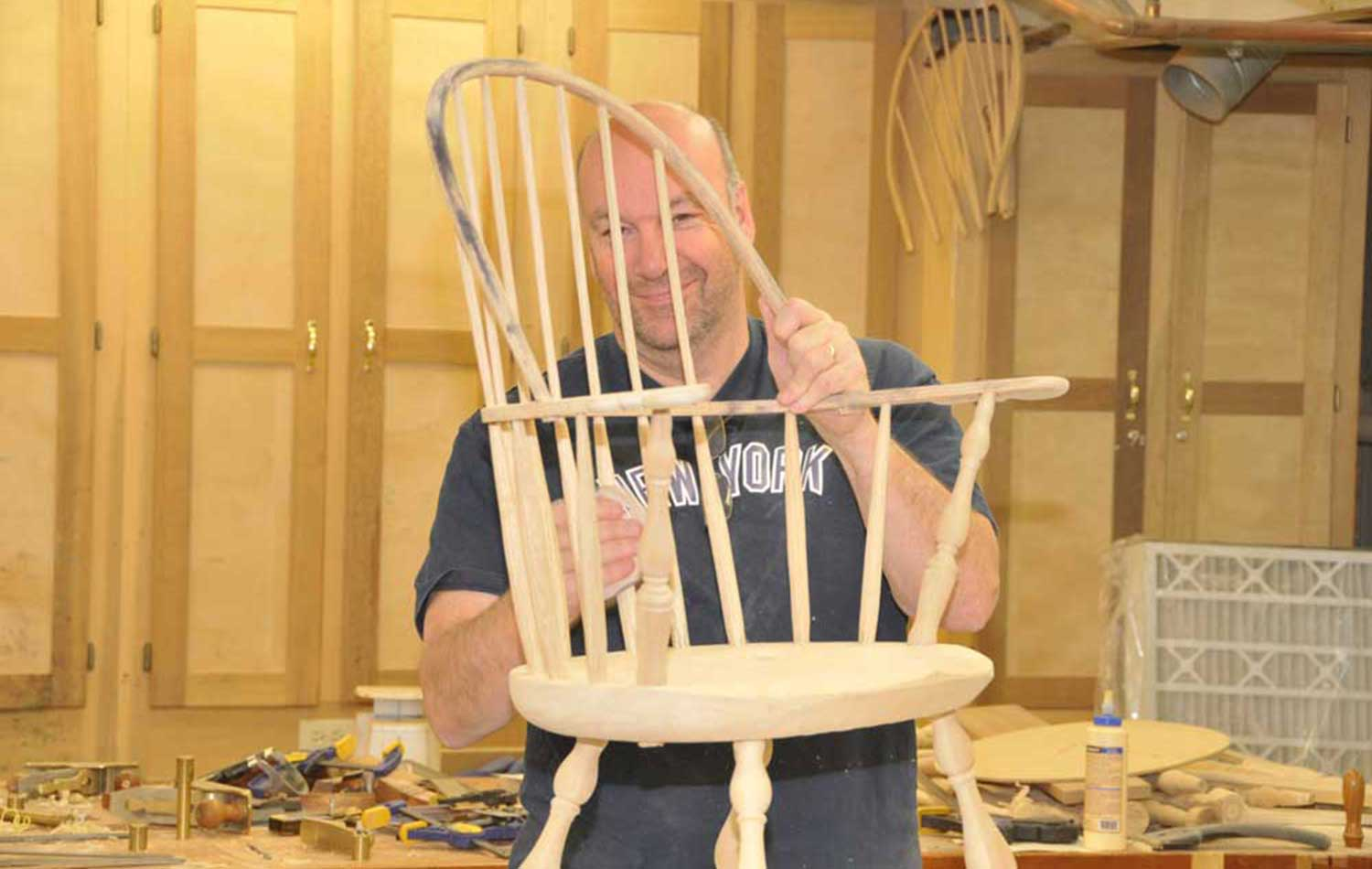 Sanding a Windsor Chair