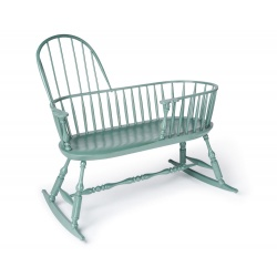 Green Windsor Nanny bench with rockers