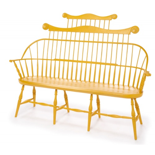 Yellow Double Comb-back Windsor Bench seats three