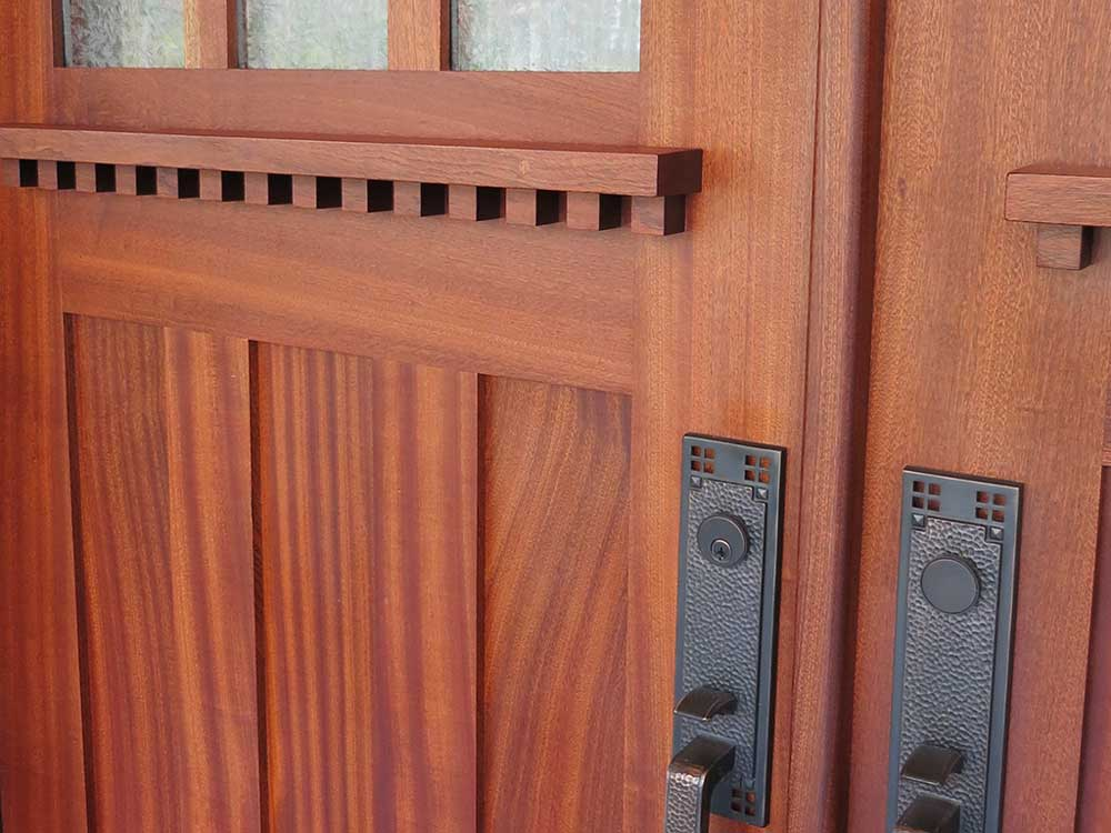 detail of arts and crafts mahogany exterior door