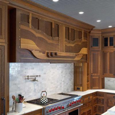 custom fumed white oak kitchen range hood