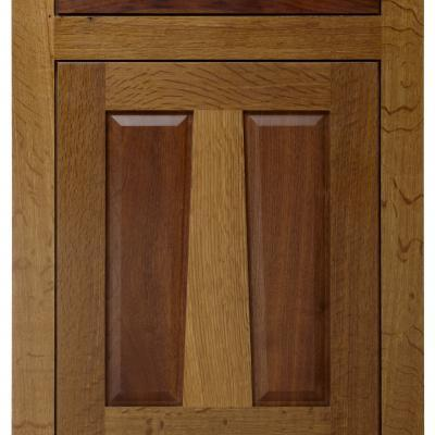 oak and walnut kitchen cabinet door in Arts & Crafts style