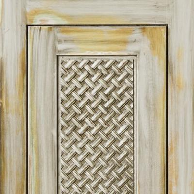 basket weave kitchen cabinet door heavily distressed