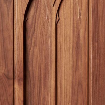 Gothic kitchen cabinet door in walnut