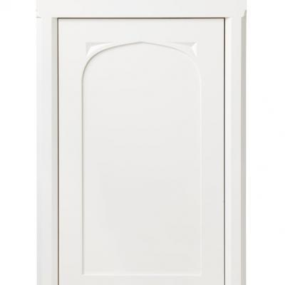 Gothic kitchen cabinet door in white lacquered finish