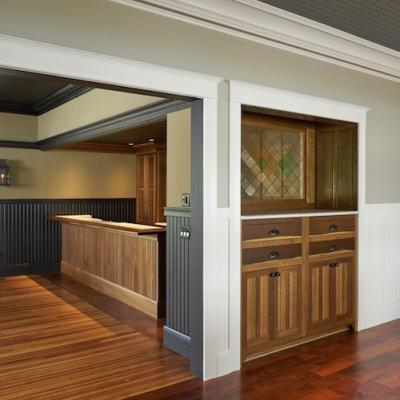 fumed oak bar and walnut built-in