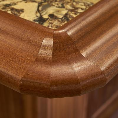 Mahogany bar corner detail