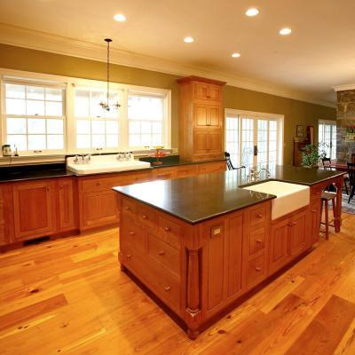 shaker kitchen in cherry with farm house sink