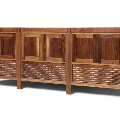 Midcentury modern triple walnut cabinet with fluted door fronts