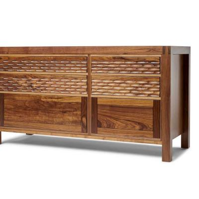 Midcentury modern double walnut cabinet with fluted drawer fronts