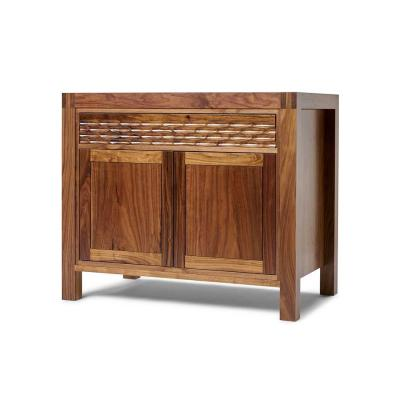 Midcentury modern walnut cabinet with fluted drawer fronts