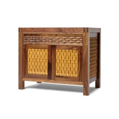 Midcentury modern fluted walnut cabinet with bamboo insets