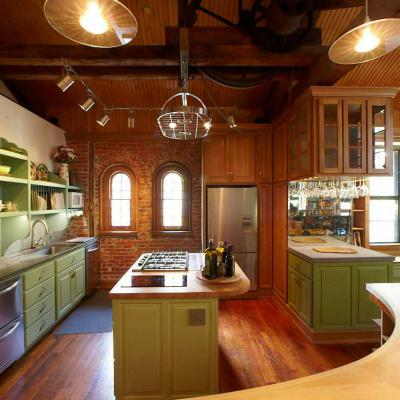 carriage house in white oak and lacquered maple curved countertop