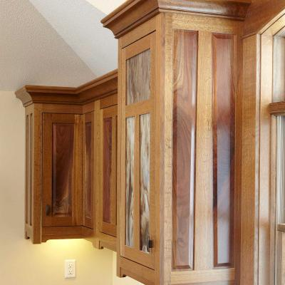 fumed oak and crotched walnut cabinets Arts & Crafts style side view
