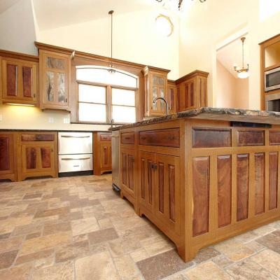 wide view of a oak and walnut Arts & Crafts kitchen