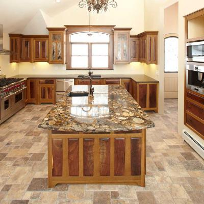 full view of a oak and walnut Arts & Crafts kitchen