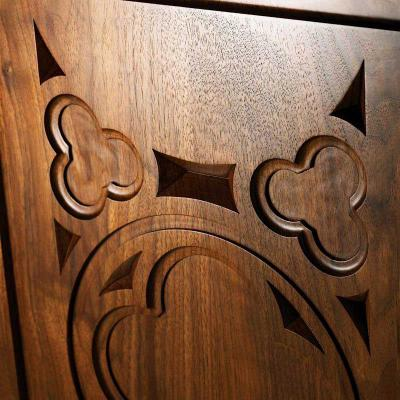 walnut carved panels Gothic style close-up detail