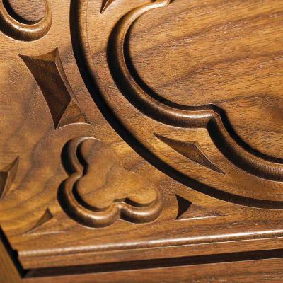walnut carved panels Gothic style detail