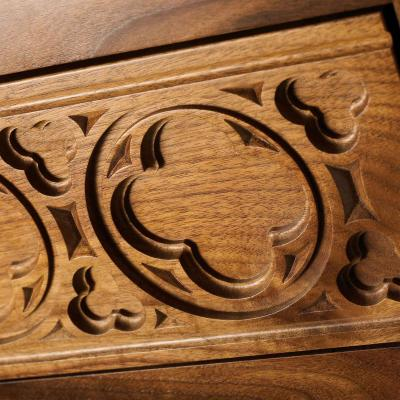 walnut carved drawer Gothic style close-up detail