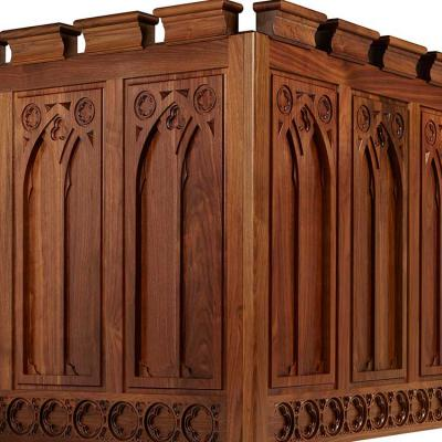 walnut carved panels Gothic style